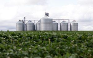 Arthur Companies Grain Elevators Behind Bean Field